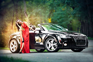 Pictures Audi Black Convertible auto Girls