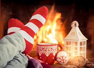Image Christmas Fireplace Socks Legs Mug