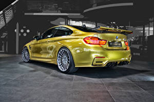 Wallpaper BMW Gold color Back view 2014 M4 F82 automobile