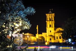 Bilder Neujahr Republik Zypern Nacht Ast Kugeln arnaca Städte