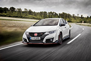 Picture Honda White At speed 2015 Civic Type R automobile
