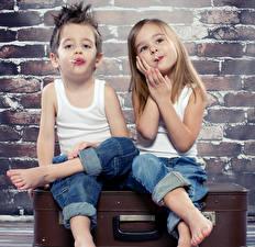 Wallpaper Boys Little girls Two Sleeveless shirt Jeans Children
