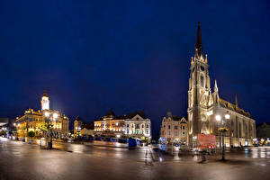 Image Houses Serbia Street Night Street lights Novi Sad Cities