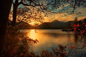 Fotos England Sonnenaufgänge und Sonnenuntergänge See Landschaftsfotografie Ast Keswick Natur