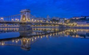 Fotos Brücke Fluss Ungarn Budapest Nacht Danube Städte