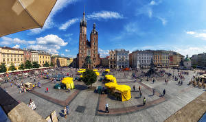 Pictures Houses People Sky Poland Krakow Street Town square St. Mary's Basilica Cities