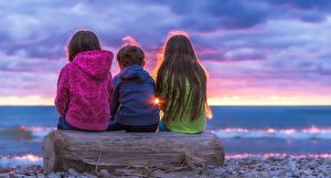 Hintergrundbilder Abend Drei 3 Sitzend Kleine Mädchen Kinder
