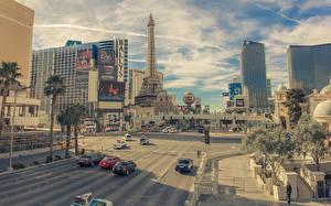 Bilder Straße Haus USA Stadtstraße Eiffelturm Las Vegas