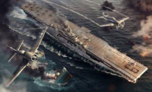 Fotos World Of Warship Flugzeugträger Krieg USS Essex Spiele Luftfahrt Heer