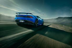 Hintergrundbilder Lamborghini Blau Hinten Bewegung Novitec Torado Huracan Autos