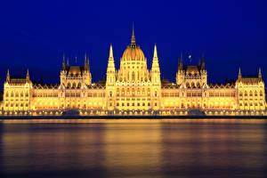Hintergrundbilder Budapest Ungarn Fluss Palast Nacht Straßenlaterne Städte