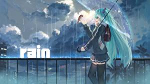 Tapety na pulpit Vocaloid Deszcz Hatsune Miku Parasolem