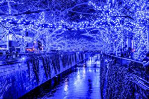 Bilder Präfektur Tokio Japan Lichterkette Kanal Nacht Ast Städte