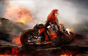Photo Bianca Beauchamp Motorcyclist Redhead girl Lava Girls Fantasy
