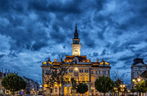 Photo Houses Serbia Street Night time Street lights Novi Sad Cities