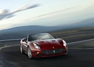 Bilder Ferrari Bordeauxrot Cabrio Metallisch Geschwindigkeit 2016 California T HS Handling auto