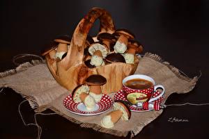 Hintergrundbilder Süßware Törtchen Pilze Kaffee Schokolade Weidenkorb Design Tasse das Essen