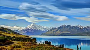 Wallpapers Mountains Sky Scenery Lake New Zealand pukaki Nature