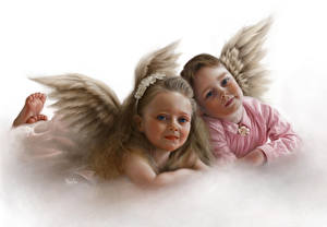 Picture Angels Wings Two Little girls Fantasy