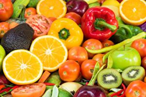 Images Fruit Vegetables Tomatoes Lemons Bell pepper Kiwifruit Apples Food