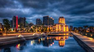 Hintergrundbilder USA Gebäude Springbrunnen San Diego Nacht Straßenlaterne HDR