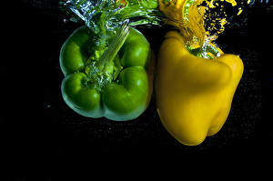 Image Bell pepper Water 2 Green Yellow Food