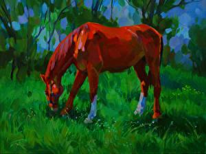 Hintergrundbilder Pferde Gezeichnet Gras Tiere