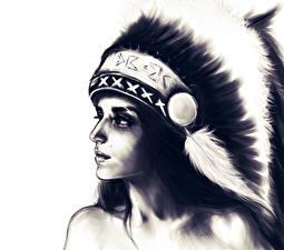 Fotos Gezeichnet Indianer Mädchens