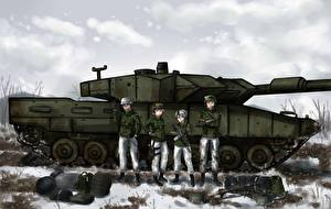 Hintergrundbilder Panzer Soldaten Leoprad Anime