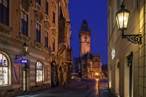 Image Prague Czech Republic Houses Street Night time Street lights Nove Mesto Cities