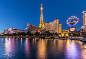 Bilder Vereinigte Staaten Gebäude Flusse Las Vegas Nacht