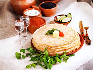 Wallpaper Pancake Caviar Vodka Shot glass 2 Foliage Food