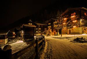 Wallpaper Switzerland Building Winter Roads Night Street lights Snow Niederwald Cities