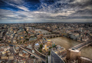Fotos England Gebäude Flusse Brücken Himmel London Megalopolis HDR Von oben Städte