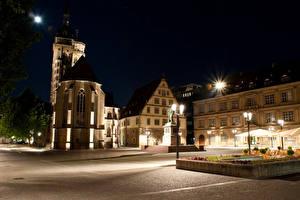 Bilder Deutschland Haus Denkmal Nacht Straßenlaterne Stadtstraße Stuttgart