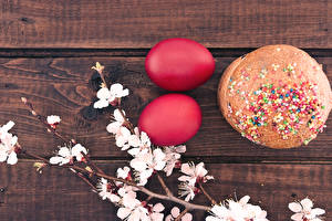 Image Holidays Easter Baking Kulich Eggs Branches Red Two