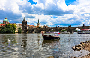 Photo Rivers Boats Bridges Prague Czech Republic Charles Bridge Clouds Tower Cities