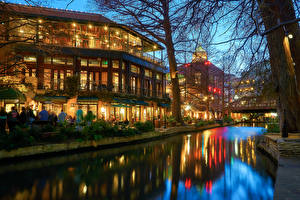 Wallpapers USA Houses Texas Night Canal Street lights San Antonio Cities