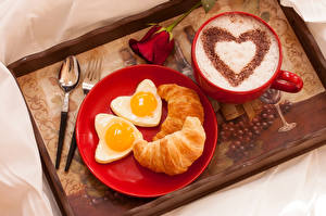 Images Coffee Croissant Cappuccino Cup Fried egg Plate Heart Food