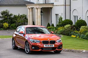 Wallpaper BMW Orange 2015 M120i Sport 3-door UK-spec F21 automobile