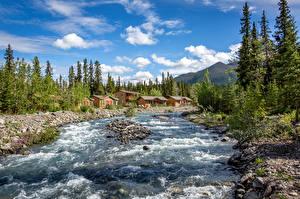 Wallpaper USA Scenery Rivers Houses Sky Alaska Trees Denali Borough Nature