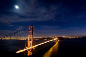 Bilder Brücken Himmel USA Nacht San Francisco Städte