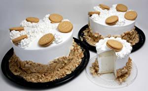 Bilder Süßigkeiten Torte Kekse Drei 3 Farbigen hintergrund Lebensmittel