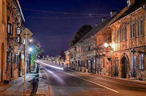 Pictures Houses Roads Serbia Street Night Street lights Novi Sad Cities