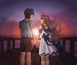 Wallpapers Couples in love Two Young man Anime Girls