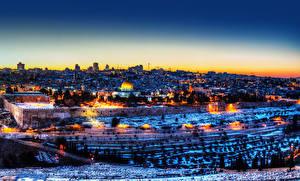 Fotos Israel Gebäude Tempel Winter Nacht Straßenlaterne Jerusalem Städte
