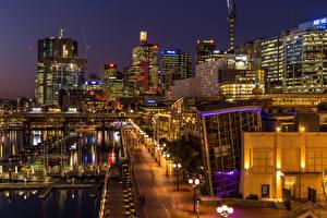 Fotos Australien Haus Schiffsanleger Sydney Stadtstraße Nacht Straßenlaterne