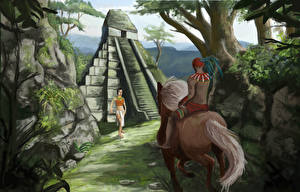 Images Warriors Indigenous peoples Pyramid Two Fantasy