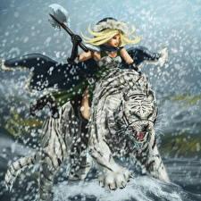 Pictures Warriors Tiger Snow Battle axes Roar Fantasy