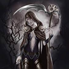Fotos Gothic Fantasy Gevatter Tod Kriegssense Nacht Mond Kapuze Fantasy Mädchens
